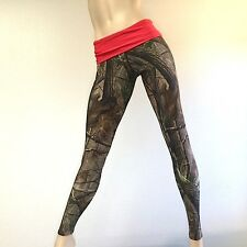 Camo Camouflage Hunting Pants Red Fold Over/Low Rise Legging MADE IN USA