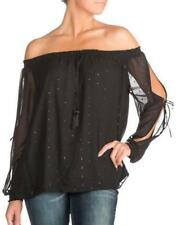 Guess Toya Off-The-Shoulder Peasant Blouse Black Size XS-M NWT MSRP $69 #4056