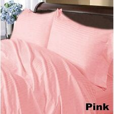 Home Bedding Choice-Duvet/Fitted/Flat 800TC Egyptian Cotton:Pink Striped