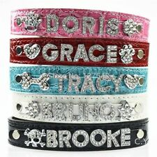 Personalized Dog Collar With Rhinestone Buckle DIY Name Pet Puppy Cat Collars