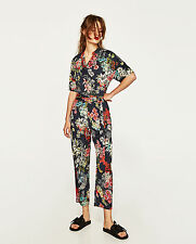 ZARA Floral Print Wrap Navy Blue Crossover Belted Jumpsuit XS S M L BNWT