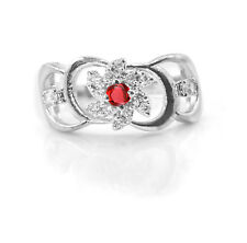 925 Sterling Silver Red Garnet Ring Natural Solitaire Gemstone Size 5-11