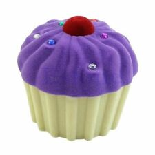 Cute Cake Cup Shape Velvet Ring Box Earring Pendant Locket Necklace Jewelry Case