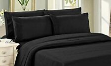 Bamboo Sheet Set 6 Piece with 4 Pillowcases Deep Pocket Soft Wrinkle Free Black