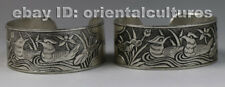 Tribal exotic chinese handmade miao silver mandarin ducks flower bracelet(pair)