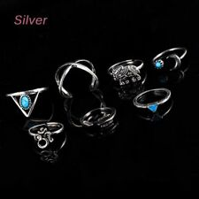 Leaf Natural Plated Silver Gypsy 7 PCS/Set Vintage Elephant Rings Turquoise