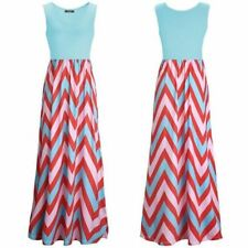 Women Striped Printed Sleeveless Ankle Length Plus Size Long Maxi Dress