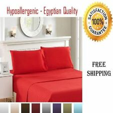 Egyptian Cotton Deep Pocket Bed Sheet Set Soft Hypoallergenic King Queen 4 PC