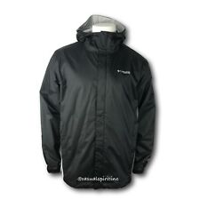 New Columbia mens PFG Timber Pointe waterproof fishing logo rain jacket Black