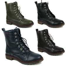 WOMENS MILITARY ARMY ANKLE BOOTS COMBAT LACE UP BIKER LOW HEEL SHOES SIZE 3-8