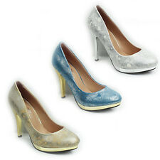 WOMENS PLATFORM PROM PARTY HIGH STILETTO HEEL LADIES COURT SHOES NEW SIZE 3-8