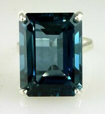 Large Natural Emerald Cut London Blue Topaz Ring 925 Silver 18x13 MM