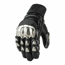 Icon 2017 Timax Short Leather Titanium Knuckle Motorcycle Gloves - CHOOSE SIZE
