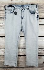 BUFFALO Jeans EVAN X Slim Straight 42x32 Acid Wash Blue Crinkled David Bitton