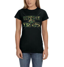 Support Our Troops Army Camo Patriotic America USA Ladies Womens T-Shirt Tee