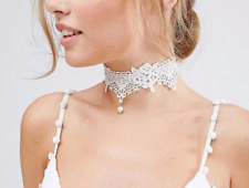 Lace Choker Necklace Wedding White Pendant Victorian Gothic Collar Bridal Pearls