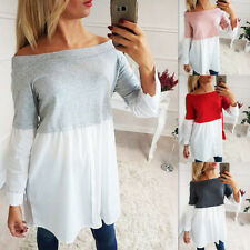 UK Women's Off The Shoulder Casual Loose Short Sleeve Blouse Dress T Shirt Tops