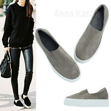 AnnaKastle Womens Faux Suede Stretch Slip-On Low Platform Sneakers Gray