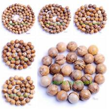 """4-14mm Pretty Natural Picture Jasper Round Shape DIY Gems Loose Beads Strand 15"""""""