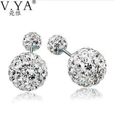 Double AAA Ball Crystal Earring 925 Sterling Silver Earring 100% Real Pure S925