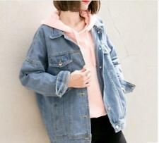 Womens Fashion Denim Loose Student School BF Style Jeans Coat Jacket Outwear Sz