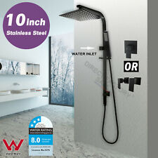"WELS Square 10"" Rain Shower Head Brass Handheld Sliding Rail Wall Arm Set Black"