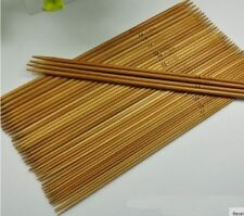 CARBONIZED SET 4 DOUBLE POINTED SMOOTH  BAMBOO KNITTING NEEDLES SIZES 2MM-10MM,