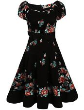 ACEVOG Women Vintage Styles Puff Sleeve Bow Prints A-Line Pleated Cocktail Dress