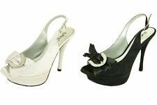 Open toe platform 5 inch high heel party wedding prom rhinestone satin pumps