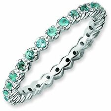 Blue Topaz 2.25mm Eternity Band Sterling Silver Stackable Ring