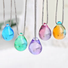 Sea Beach Clear Glass Mermaid's Tear Water Droplets Pendant Necklaces For Women