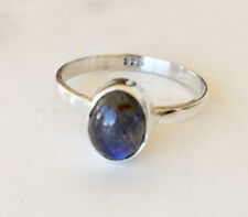 925 Sterling Silver Stackable Labradorite Gemstone Stack Ring Cabochon US 6 7 9