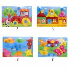 Colorful Knowledge Board Montessori Kids Educational Toy Kids Wooden Puzzle Toy