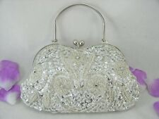 Silver Fully Sequined Beaded Flowers Evening Party Bag Purse & Varius Colors