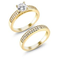 2 Piece Set: 18kt Yellow Gold Plated  Cubic Zirconia Engagement Rings