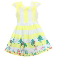 New Girls Dress Yellow Cartoon Striped Print Sundress Party Pageant Kids Clothes