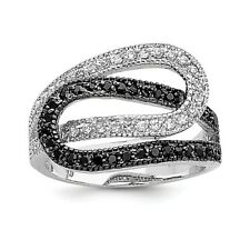 Sterling Silver Rhodium Interwoven Black and White CZ Ring