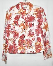 Coldwater Creek Stretch Floral Jacket Silver Buttons Sz Small EUC