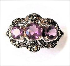 (Size 6,7) AMETHYST 3-STONES RING Vintage-Style Marcasite .925 STERLING SILVER