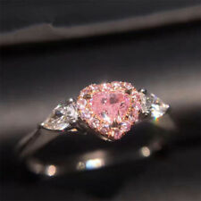 US Fashion Silver Womens Peach Heart Wedding Party Jewelry Ring Band SIZE 6-10
