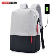 Laptop Artificial Leather Casual Backpack Men Travel USB Charging Port School