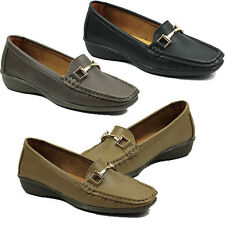 WOMENS CASUAL LOW WEDGE HEEL SLIP ON MOCCASINS LOAFERS PUMPS LADIES SHOES 3-8