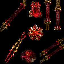 Snow White Foil Ceiling Christmas Decorations - Gold & Red