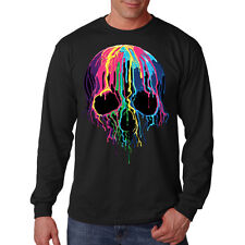 Paint Dripping Melting Colorful Skull Cool Biker Gothic Long Sleeve T-Shirt Tee