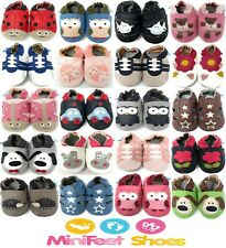 MINIFEET SOFT LEATHER BABY SHOES / SLIPPERS 0-6,6-12,12-18,18-24 MTHS & 2-3 YRS