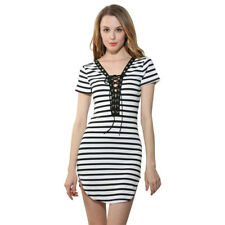 Sexy Women Dress Has A V Neckline Design Feature Short Sleeve With Bandage
