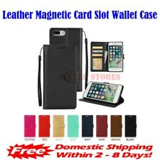 Leather Magnetic Card Slot Wallet Flip Case fit for iPhone 5 5S 6 6S 7 8 Plus X