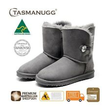 Short SWAROVSKI Crystal Button UGG Boots, Australian Made,Premium Sheepskin,Grey