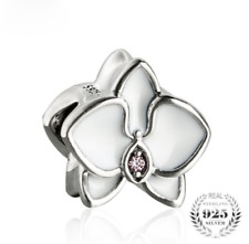authentic 925 Sterling Silver Charm Beads White Enamel Orchid Flowers Bead Charm