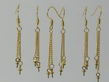 Pure 14K long Earring plated Findings Earwire dangle pin half drilled beads